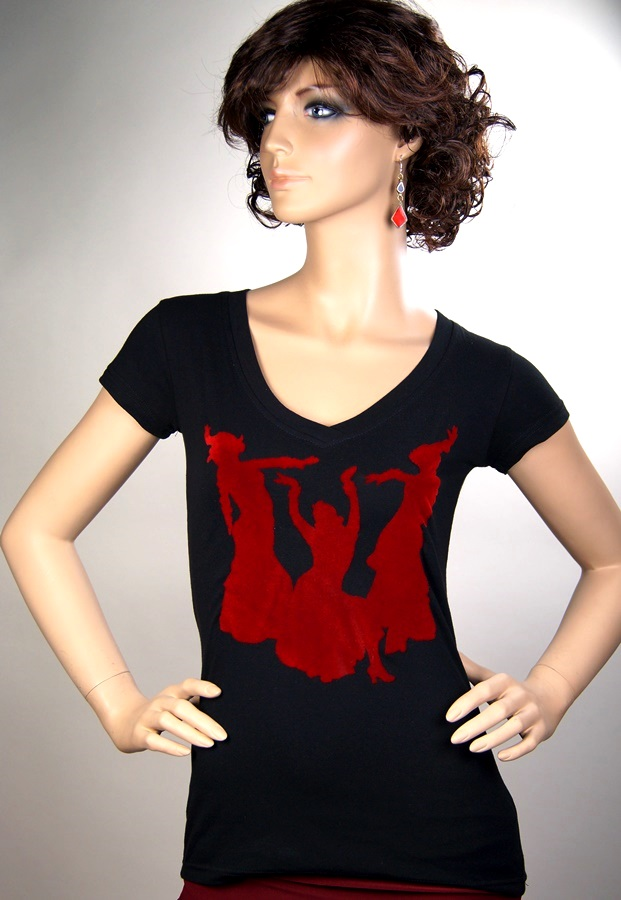 Short Sleeve V-neck with Red Silhouette